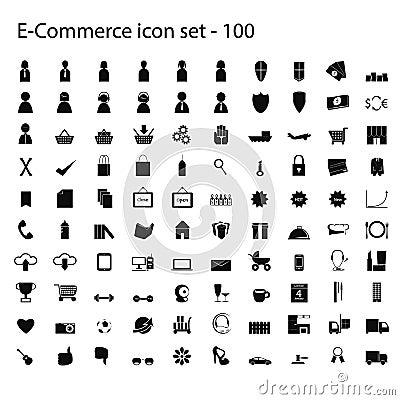 100 ecommerce ikon ustawiających wektor