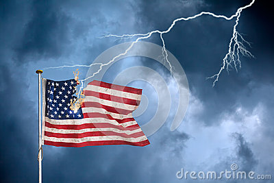 Economic crisis concept with the US flag struck by lightning