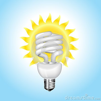 Economical sunny bulb vector illustration
