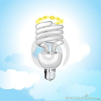 Economical sunny bulb vector illustration