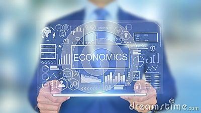 Economie, zakenman met Hologram Concept stock video
