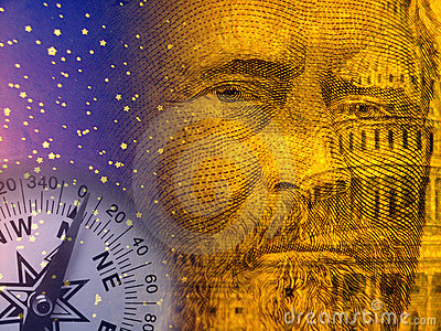 Economy abstract with US capitol and old president