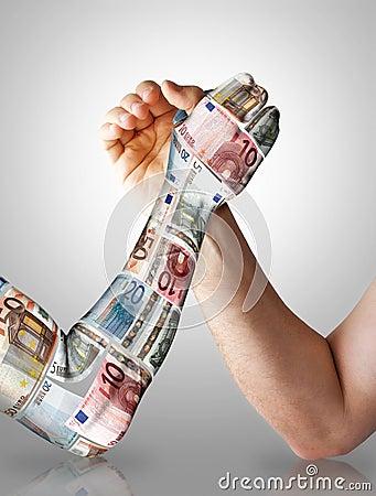 Free Economy Arm Wrestling Royalty Free Stock Image - 9649756