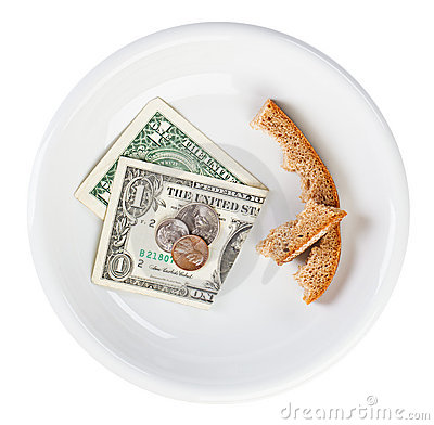Economy crisis dollar currency concept with bread
