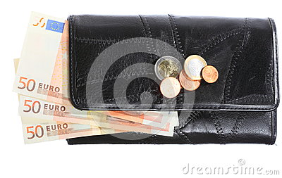 Economy and finance. Purse with euro banknote isolated