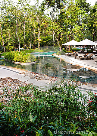 Ecotourism resort swimming pool landscaping