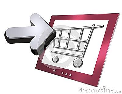 Ecrã de computador e cesta