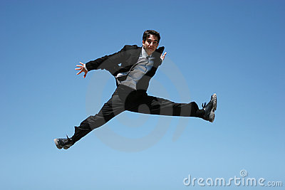 Ecstatic businessman