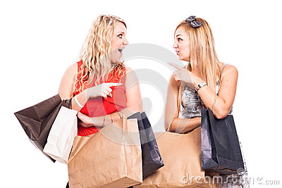 Ecstatic friends shopping