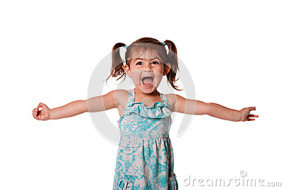 Ecstatic happy little toddler girl