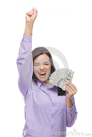 Ecstatic Mixed Race Woman Holding the New One Hundred Dollar Bills