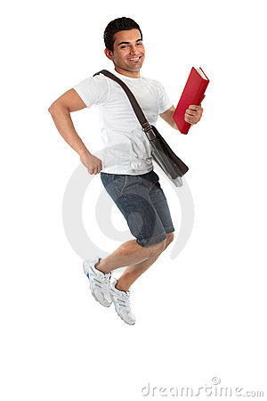 Ecstatic student jumping