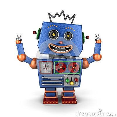 Ecstatic vintage toy robot