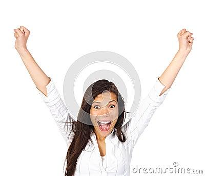 Ecstatic winner winning woman