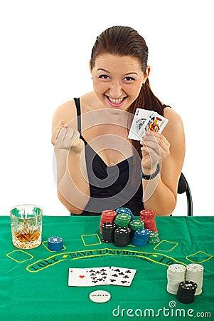 Ecstatic woman won at black jack