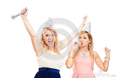 Ecstatic women celebrating party