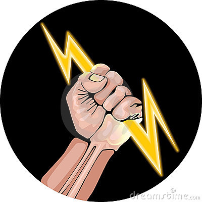 Ector illustration of lightning in the hand.
