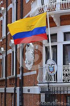 Ecuador Flag flying outside embassy in London