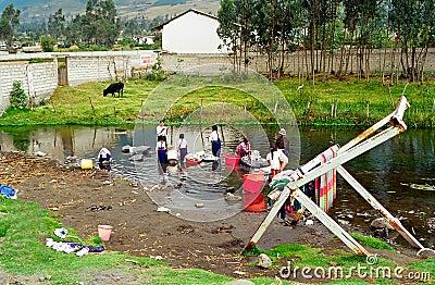 Ecuador river laundry Editorial Stock Photo