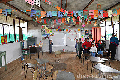 Ecuadorian School Children in Class Editorial Photo