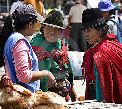 Ecuadorian Women - Food Market - Ecuador Editorial Stock Photo
