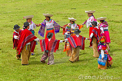 Ecuadrorian Andes traditional dance Editorial Stock Photo