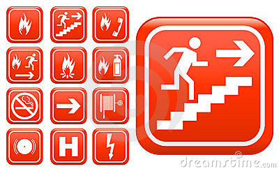 Ed emergency fire safety signs