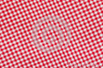Ed and white checkered tablecloth background