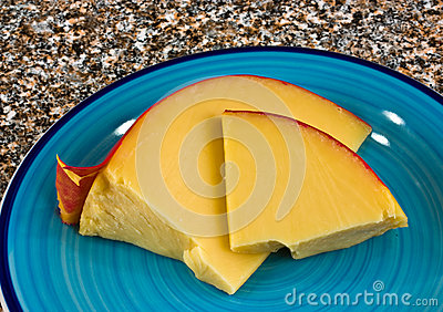 Edam cheese on plate