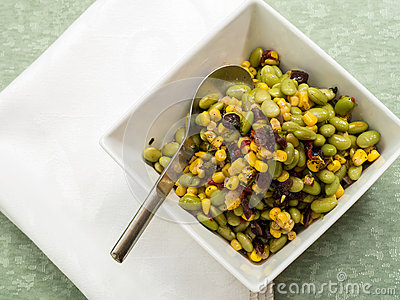 Edamame or Soybean Salad with Roasted Corn