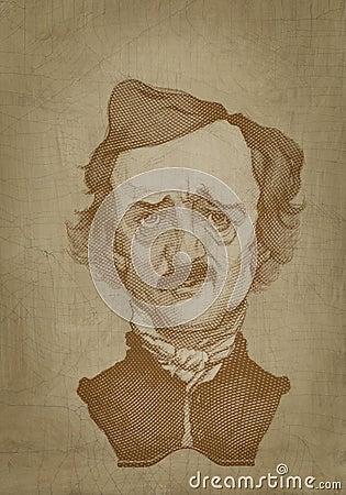 Edgar Allan Poe sepia portrait engraving style Editorial Stock Photo