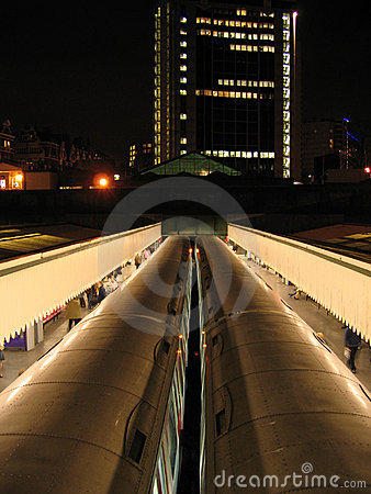 Edgeware road tube trains london city night