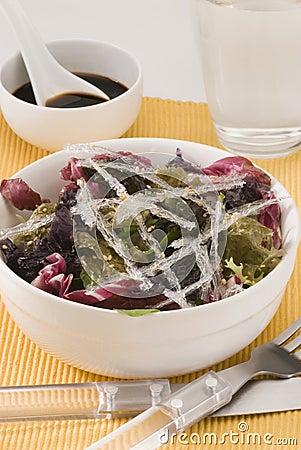 Edible seaweed salad.