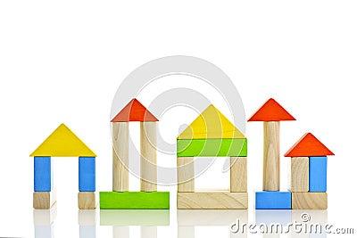 Edifícios de madeira dos blocos