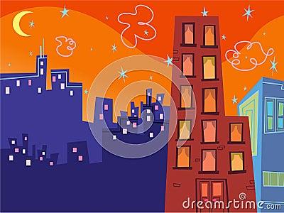 Edifícios groovy dos desenhos animados