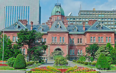 Edifício velho do governo do Hokkaido, Japão Foto Editorial