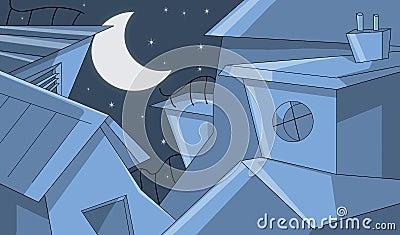 Edifícios na noite estrelado