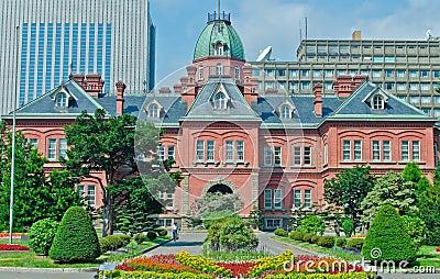 Edificio viejo del gobierno de Hokkaido, Japón Foto editorial