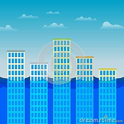 Edificios de oficinas que sobreviven la inundación