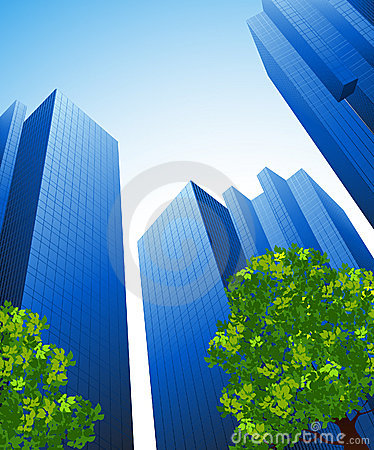 Edificios de oficinas y árboles
