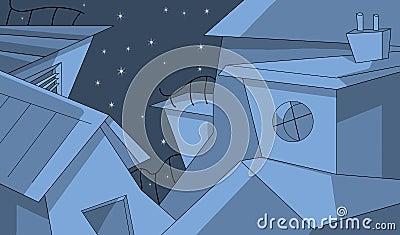 Edificios en la noche estrellada