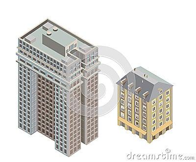 Edificios modernos isométricos