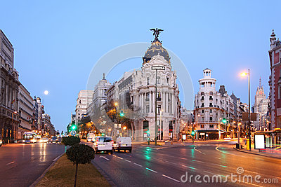 Edifisio Metropolis building on Gran Via street in Madrid