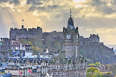 Edinburgh Castle and Balmoral Clock Tower