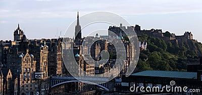 Edinburgh castle and citycsape at dusk