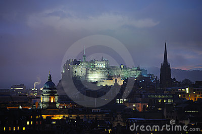Edinburgh Castle at dusk in winter