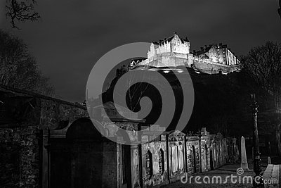 Edinburgh Castle at Night Stock Photo
