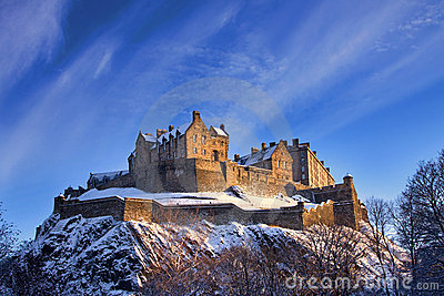 Edinburgh Castle In Winter Sunset