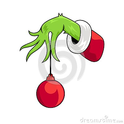 Grinch Hands With Ornament Christmas Vector Illustration