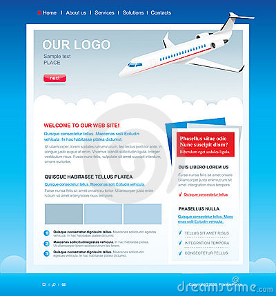 Editable web site template with passenger airplane